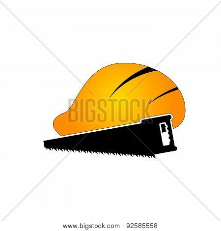 Construction Tin Hat With Saw Vector