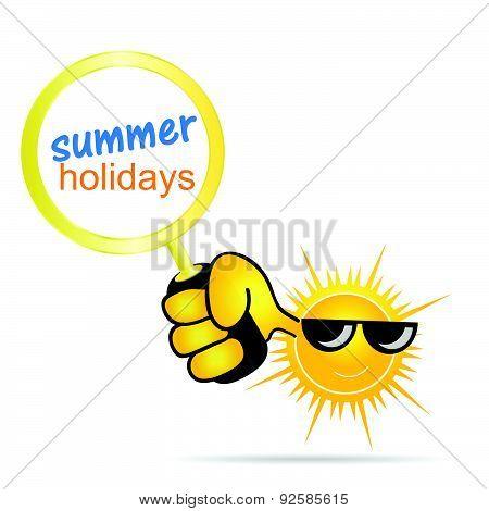 Sun With Holidays Summer Vector