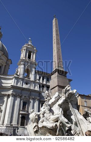 Fountain of the Four Rivers (Fontana dei Quattro Fiumi) with an Egyptian obelisk. Italy. Rome. Navon