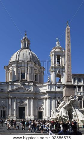 ROME ITALY- SEPTEMBER 20: A crowd of tourists visit Fountain of the Four Rivers before Saint Agnese
