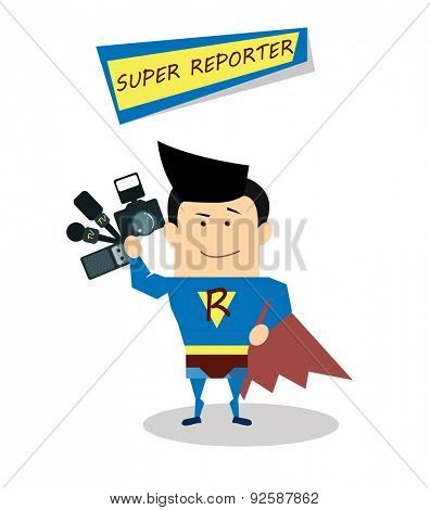 Illustration superman reporter in flat design isolated on white background. Vector Superhero reporter. Super live report concept,  journalists with microphones and tape recorders and camera