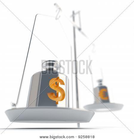 scales with money symbols
