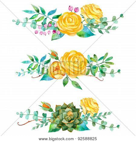 3 beautiful bouquet for your design with roses leaves berries and succulent plants