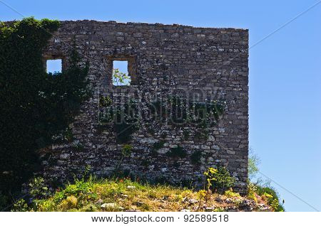 Ruined details at Castle of Venus, Erice, Sicily