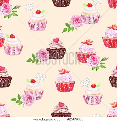 Chocolate And Cupcakes Beige Seamless Vector Print