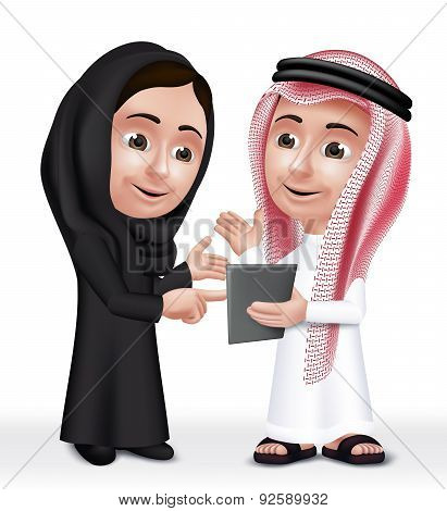 Realistic 3D Arab Kids Characters Boy and Girl Talking