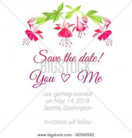 Delicate Fuchsia Floral Watercolor Design Vector