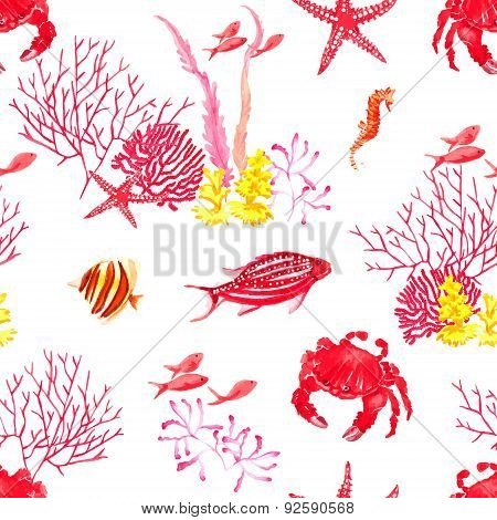 Bright Fishes,crab, Corals Watercolor Seamless Vector Pattern