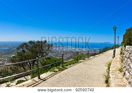 Promenade and viewpoint to city of Trapani at Erice, Sicily