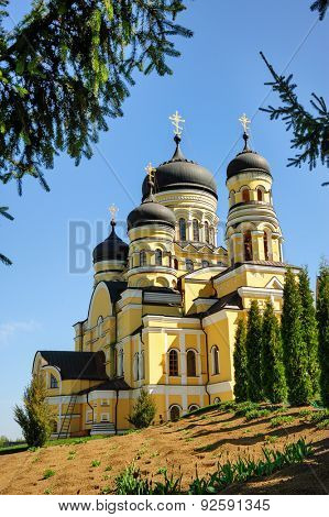 Large Christian Orthodox Church at the top of hill in Hancu Monastery, Republic of Moldova