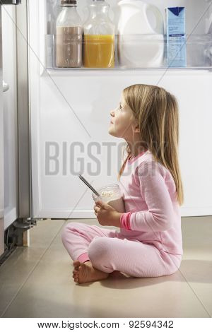 Girl Raiding The Fridge