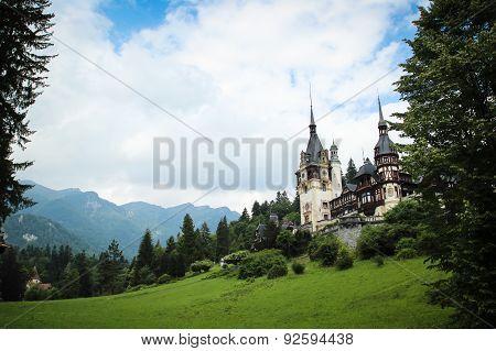 Peles Castle In The Carpathian Mountains