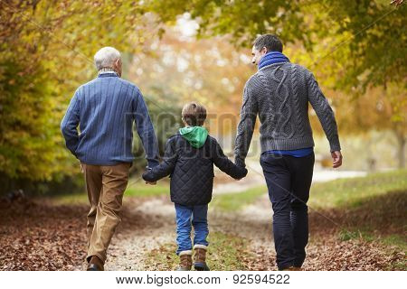 Rear View Of Male Multl Generation Family Walking On Path