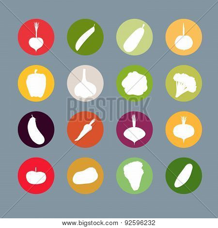 Vegetables silhouette icons Set. Vector illustration. Carrots and potatoes, beets and radishes, cabb