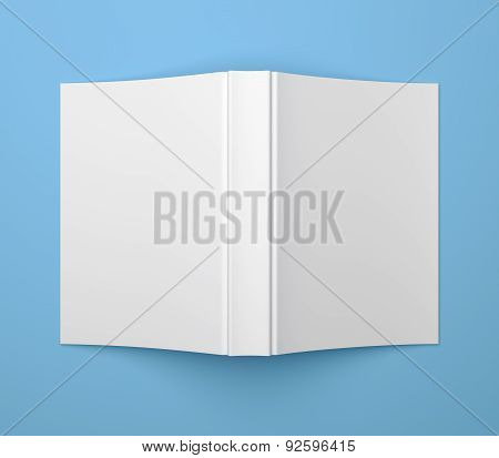 White Blank Soft Cover Book Template On Blue