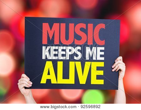 Music Keeps Me Alive card with bokeh background