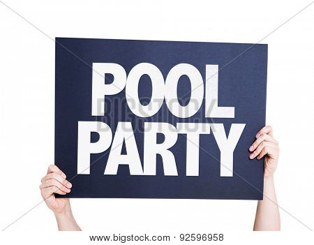 Pool Party card isolated on white