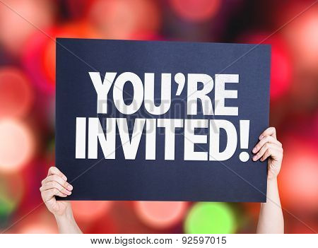 You're Invited! card with bokeh background