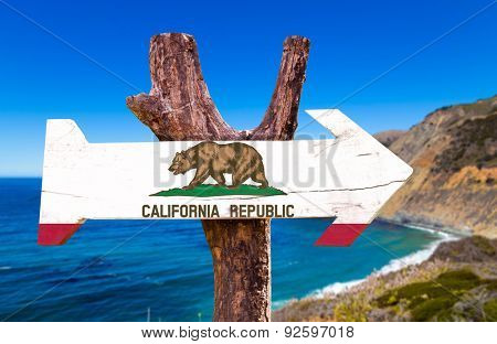 California wooden sign with Big Sur background