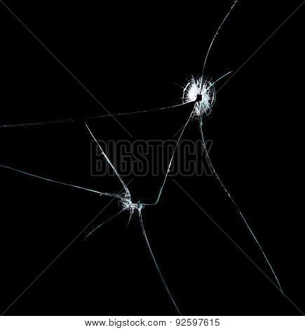 Broken Glass, Isolated On Black Background