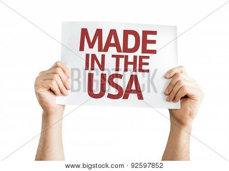 Made in the USA card isolated on white