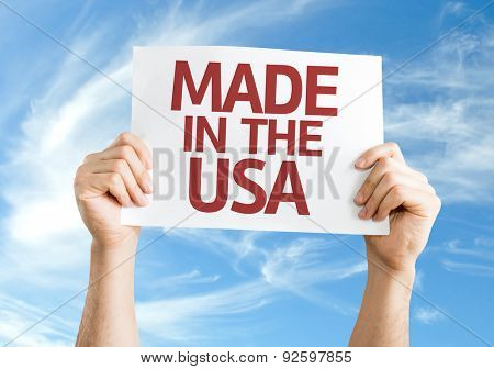 Made in the USA card with sky background