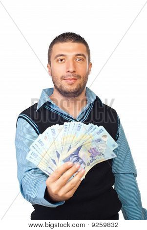 Business Man Holding Romanian Money