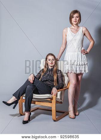 Two Beautiful Girlfriends Posing In The Studio