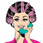 picture of hair curlers  - Woman with curlers in their hair talking at phone isolated on white vector format - JPG