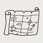stock photo of treasure map  - Treasure Map Doodle - JPG