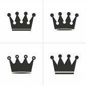 pic of crown jewels  - Set of simple icons black crown on white background - JPG