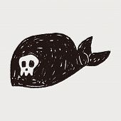 stock photo of pirate hat  - Pirate Hat Doodle - JPG