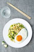 foto of millet  - stir fried millet with broccoli green beans and fried egg - JPG