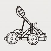 stock photo of trebuchet  - Trebuchet Doodle - JPG
