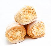 picture of cream puff  - Fresh puff pastry with cream isolated on a white background - JPG