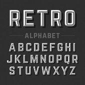 picture of alphabet  - Retro style alphabet vector illustration - JPG