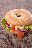 stock photo of bagel  - bagel with salmon - JPG