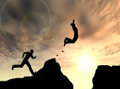 pic of gap  - Concept or conceptual young 3D man or businessman silhouette jump happy from cliff over  gap sunset or sunrise sky background - JPG