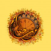 pic of crescent-shaped  - Arabic Islamic calligraphy of text Ramadan Kareem in crescent moon shape on beautiful flowers decorated clock showing prayers time - JPG