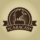 stock photo of bolivar  - Vintage Retro Caracas Seal - JPG