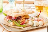 foto of smoked ham  - Sandwich with smoked ham grilled peaches and mozzarella - JPG