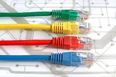 foto of circuits  - Four Multi Colored Network Cables - JPG