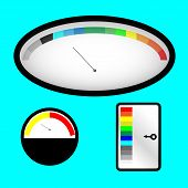 stock photo of indications  - Set of indicators with colored spectral indicator - JPG