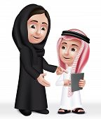 pic of teachers  - Realistic 3D Arab Teacher Woman Character Teaching Boy Student in Mobile Tablet About School Wearing Thobe and Abaya for Studies - JPG