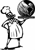 stock photo of serving tray  - Woodcut style image of a french chef and serving tray with the earth - JPG
