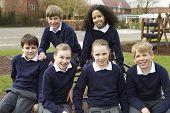 pic of playground school  - Portrait Of Elementary School Pupils In Playground - JPG