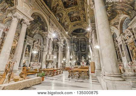 Italy, Genova, Basilica di Santa Maria delle Vigne - wide angle shot inside the church with long time exposure