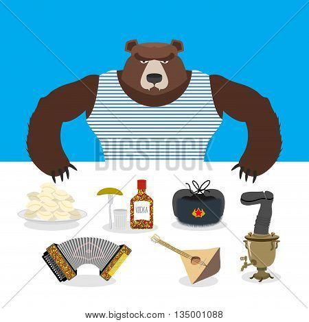 Russian Bear Sells Souvenirs. Russian Traditional National Symbols. Accordion And Balalaika. Dumplin