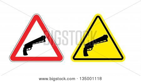 Warning Sign Of Attention Weapon. Dangers Yellow Sign Gun. Magnum On Red Triangle. Set Of Road Signs