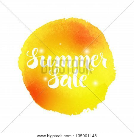 Summer Sale Watercolor Concept. Illustration of Watercolour Abstract Background. Handwritten Text. Creative Design.